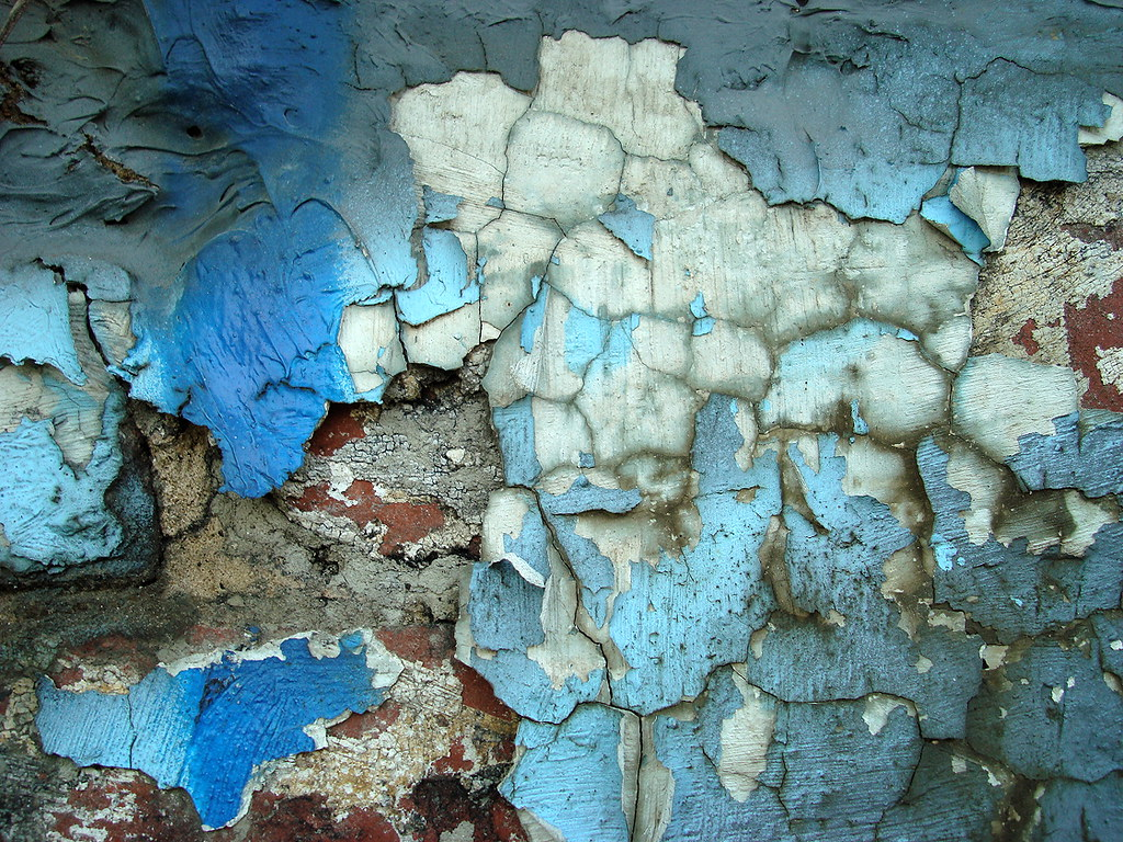 if abstract cracked wall blue