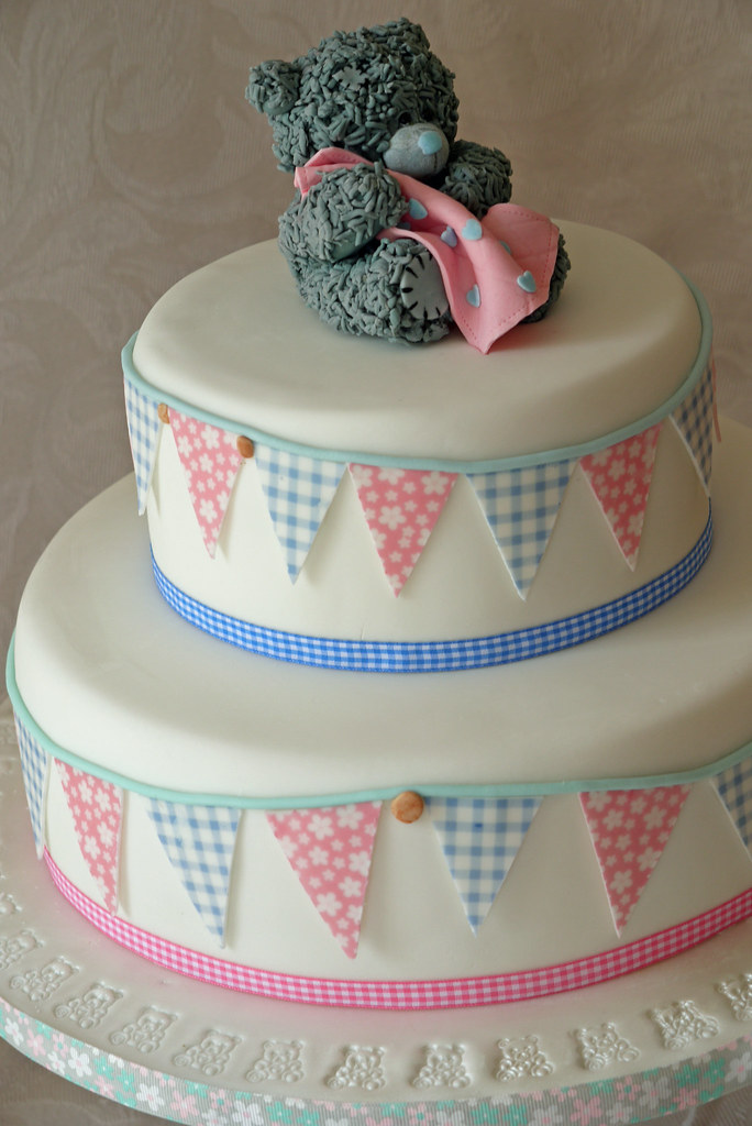'Me to you' teddy christening cake with blue and pink bunt ...