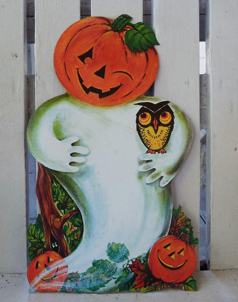 Vintage Halloween Decorations--Pumpkin Ghost Die Cut