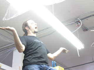 ben testing the lights at noisebridge | by Liz Henry