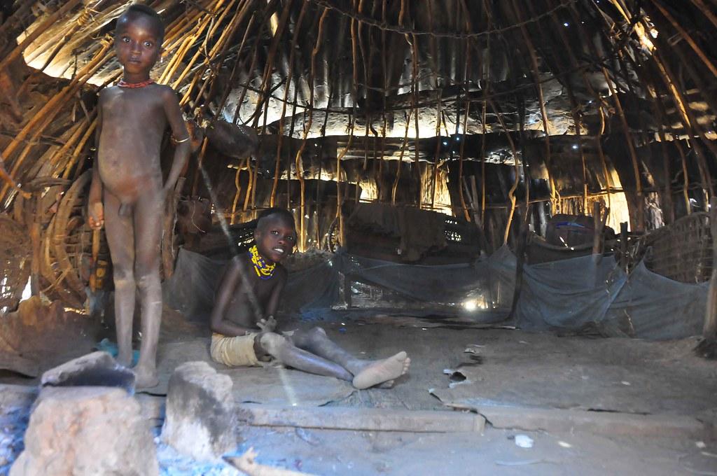 Inside Dessenach Tribe Hut Goat Skins For Sleeping On