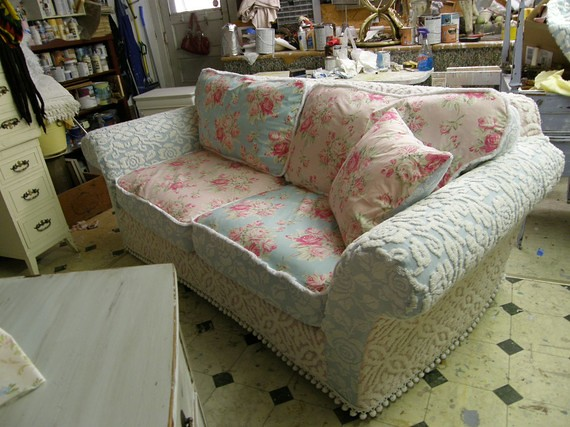 pink aqua roses chenille bedspread shabby chic slipcover s flickr. Black Bedroom Furniture Sets. Home Design Ideas