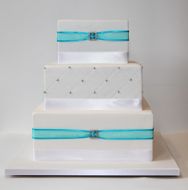 Square 3-tier wedding cake Flickr - Photo Sharing!