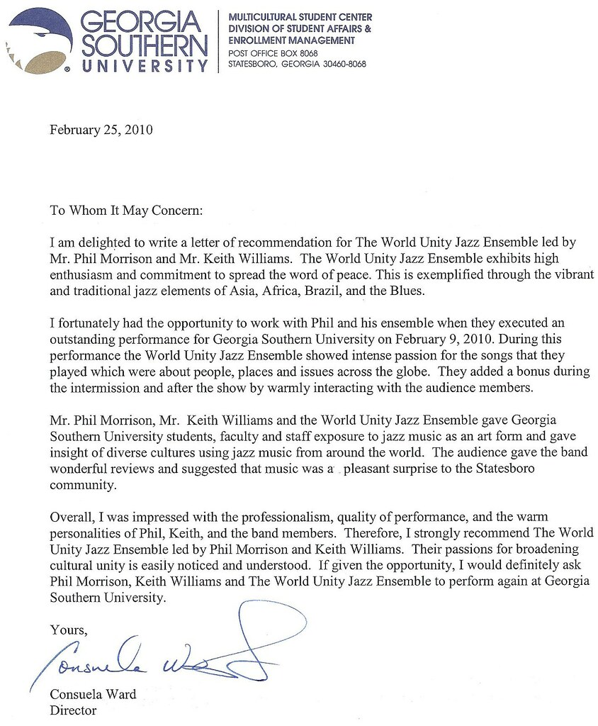 Recommendation Letter From Georgia Southern University