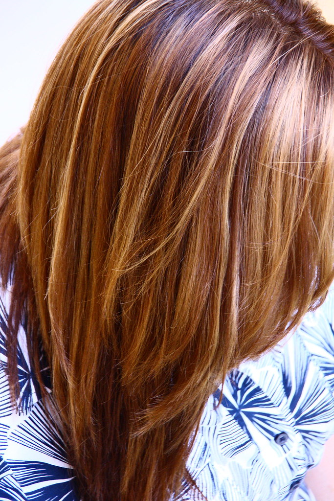 Warm brown with blonde and honey highlights original color flickr - Coloration chocolat caramel ...