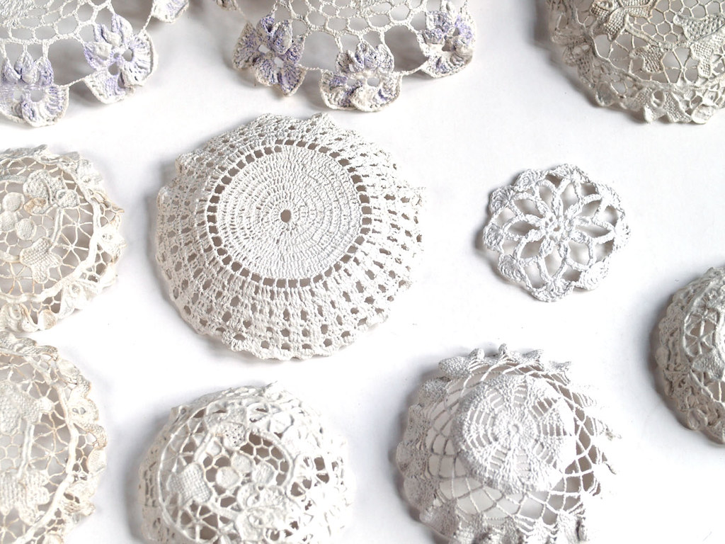 Doilies Dipped In Plaster Of Paris Then Moulded And