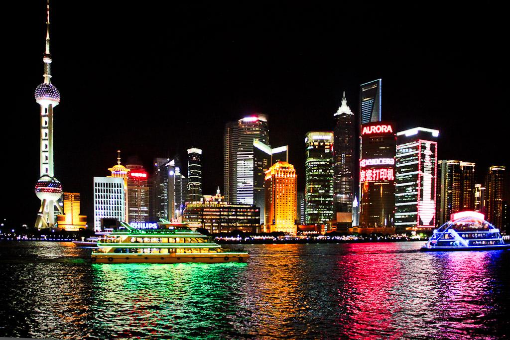 Vue sur la baie de Shanghai de nuit