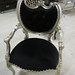 4064 BLACK AND SILVER LACQUER HOLLYWOOD REGENCY CHAIR