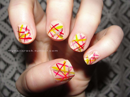 lines over nude nail art | by mynailsrock
