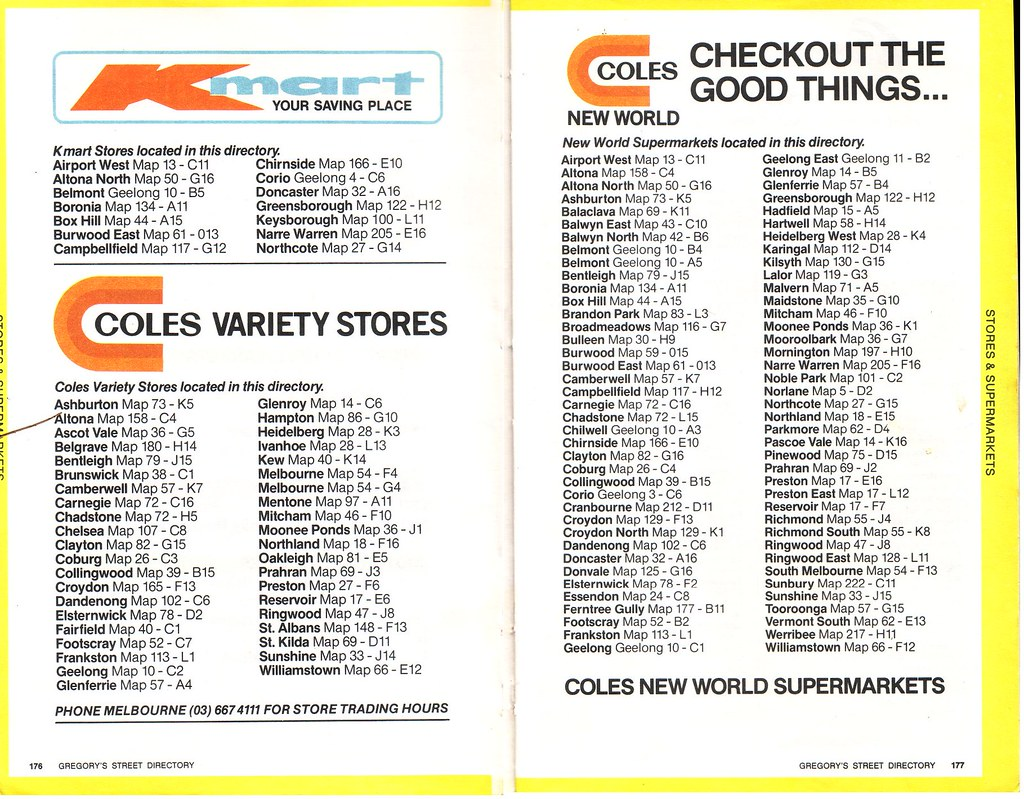 Kmart coles variety stores and coles new world store loca flickr circa 1982 kmart coles variety stores and coles new world store locations in melbourne circa 1982 gumiabroncs Gallery