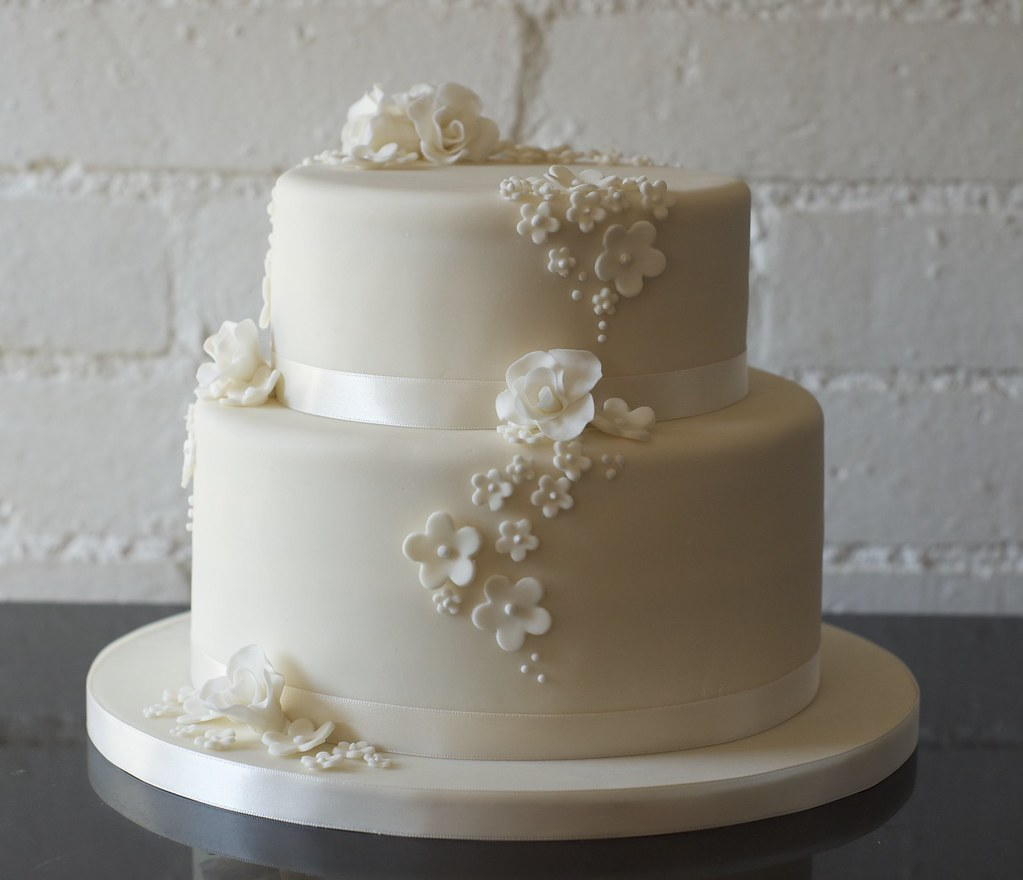 Rose And Blossom 2 Tier Ivory Wedding Cake