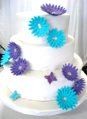 Sky Blue And Purple My 1st Wedding Cake Didnt Turn Out Too Flickr