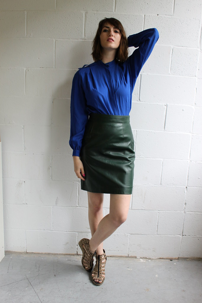 cheap opulance: wool blouse and leather skirt | for etsy Mod… | Flickr