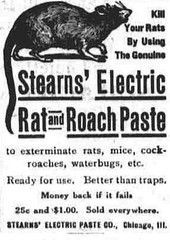 Ad: Stearns' Electric Rat and Roach Paste