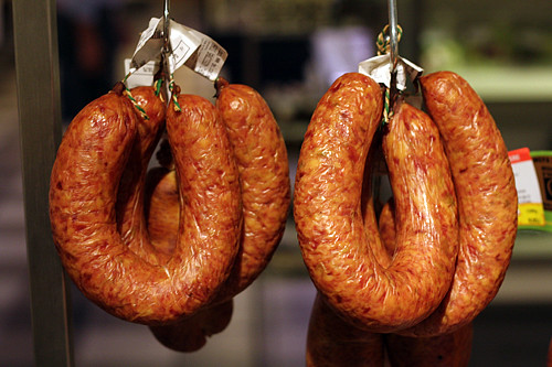 smoked cabbage sausage | by David Lebovitz