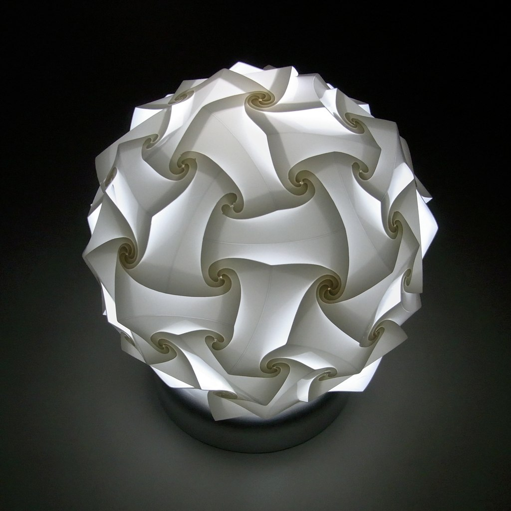 Curved Fold Table Lamp Based On 60 Face Polyhedron