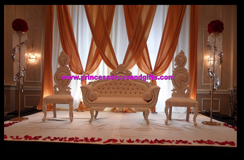By Golden Nikkah Stage Decor  Love Seats King U0026 Queen Chairs And Backdrop!  | By