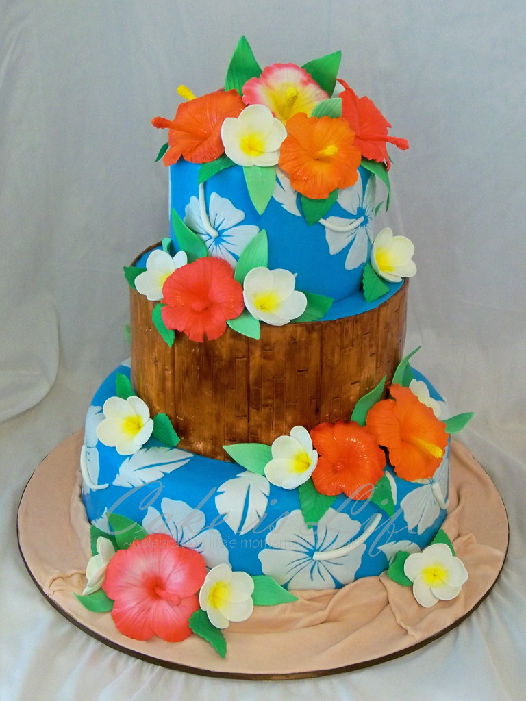 Hawaiian Themed Wedding Cake 092011 Top Two Tiers Were R Flickr