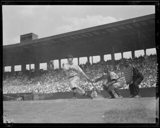Bobby Doerr hitting against the Yankees at Fenway | by Boston Public Library