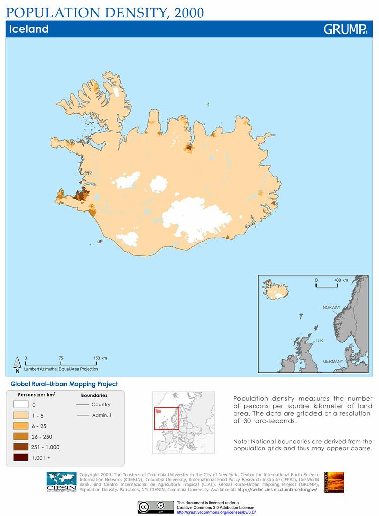iceland population density 2000 population density