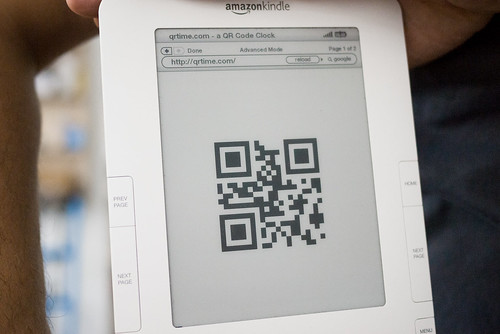 Clocks for Robots: Kindle mock-up using http://qrtime.com | by BERG Studio