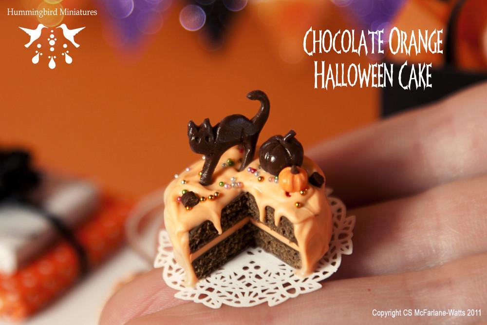 chocolate orange halloween cake 112 scale dollhouse miniature by hummingbird miniatures