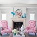 Gray living room + pink ikat chairs: Benjamin Moore 'Classic Gray'