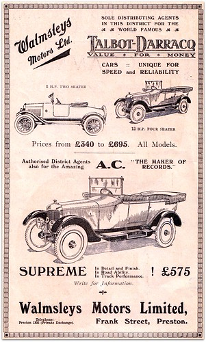 Walmsleys Motors Limited Frank Street Preston 1909 Ad