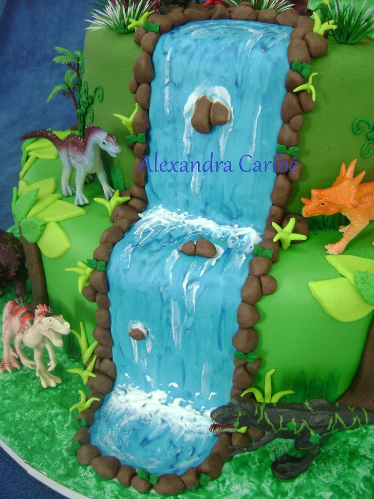 Bolo Dinossauros Cachoeira Jurassic Park Cake Waterfal
