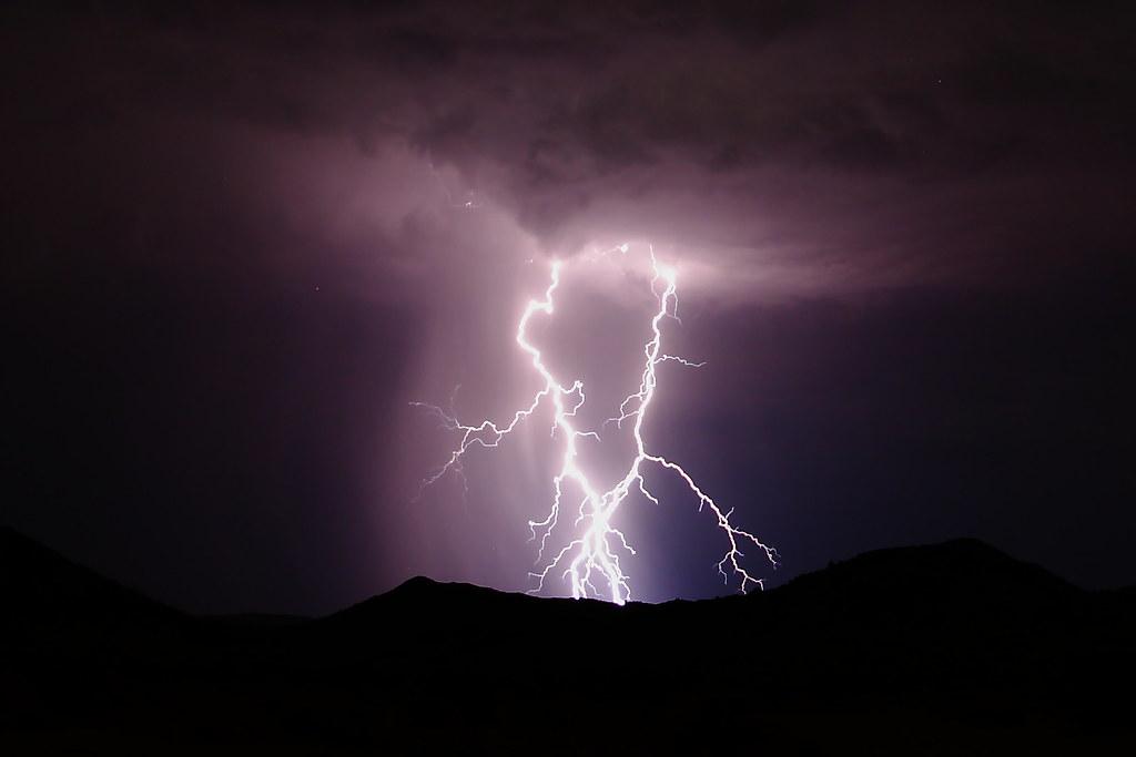 Lightning Strikes A Mountain Northeast Of Dos Cabezas Sidi