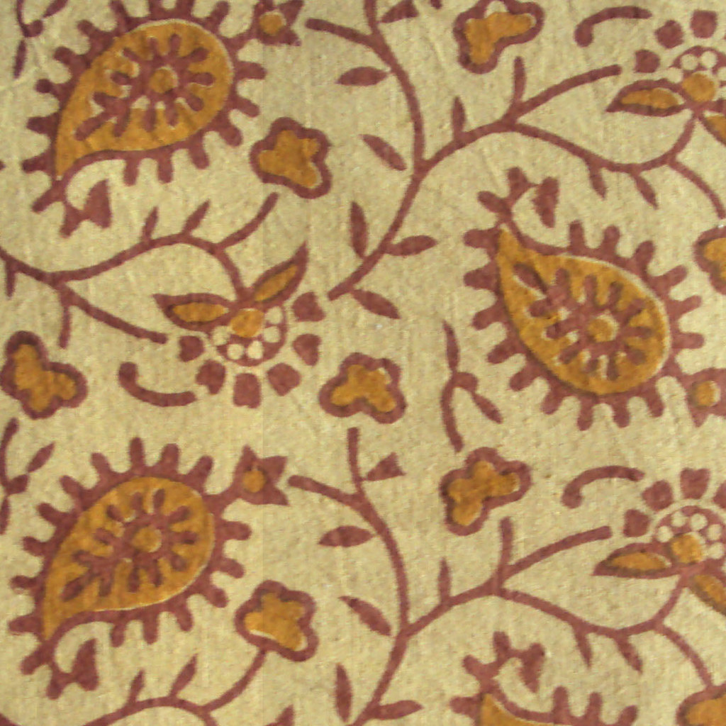 Indian Block Print Floral Cotton Fabric On Light Yellow