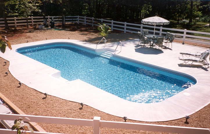 Inground swimming pool rectangle 4ft radius concrete deck for Pictures of small inground pools