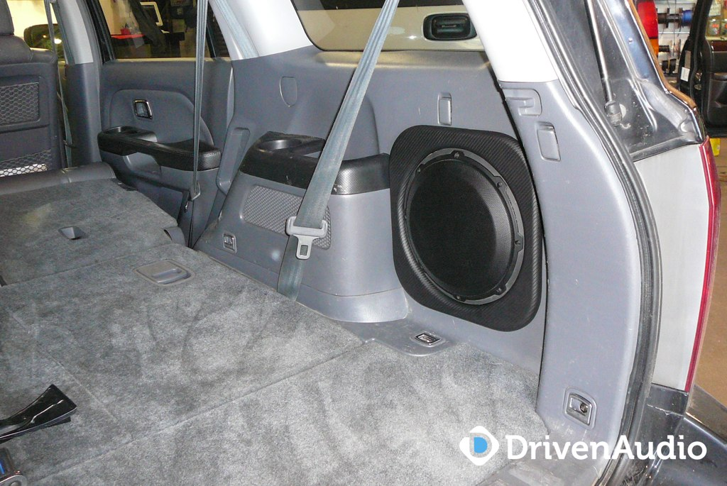 Honda Pilot Subwoofer Installed In Side Panel Another