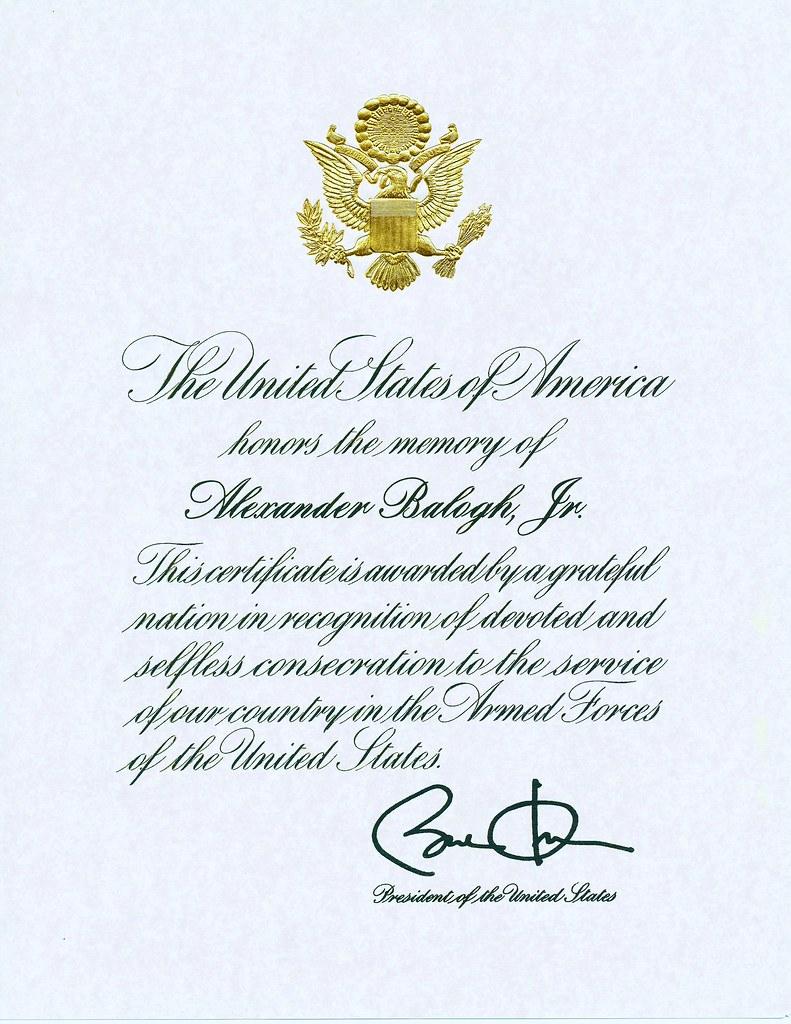 Presidential Memorial Certificate We Received This Preside Flickr