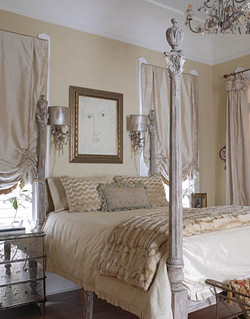 French + feminine in New Orleans bedroom: Benjamin Moore 'Pittsfield Buff' | by SarahKaron
