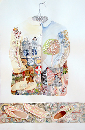 CoatAndShoes water colour and ink on paper (65x110cm) | by cate edwards