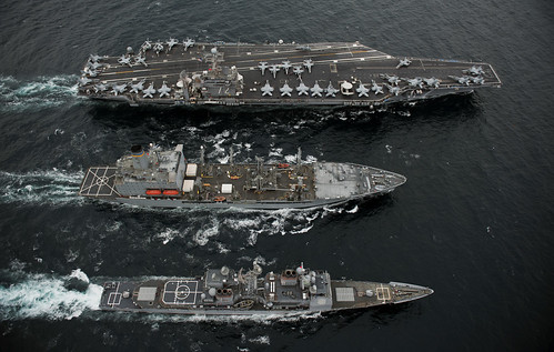 USS Abraham Lincoln, USS Cape St. George and USNS Guadalupe | by Official U.S. Navy Imagery