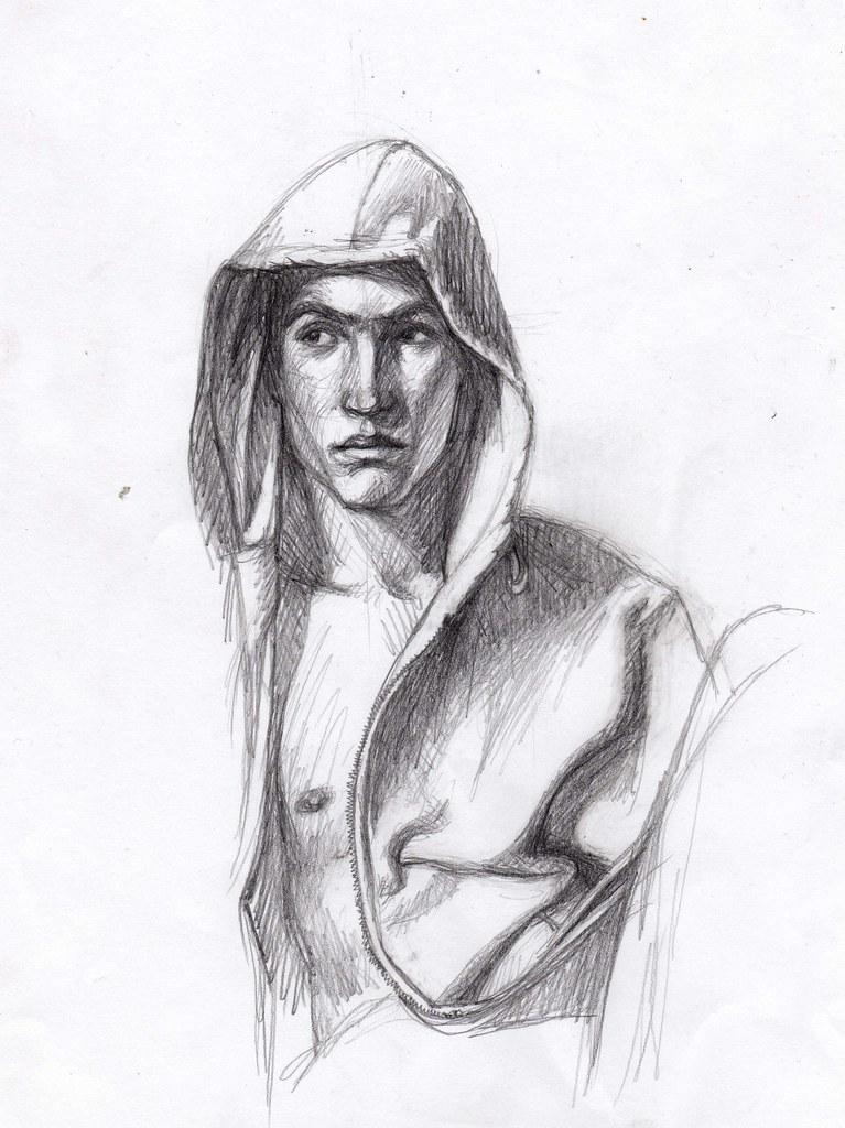 Pencil sketch of boy in hoodie by girl eats art