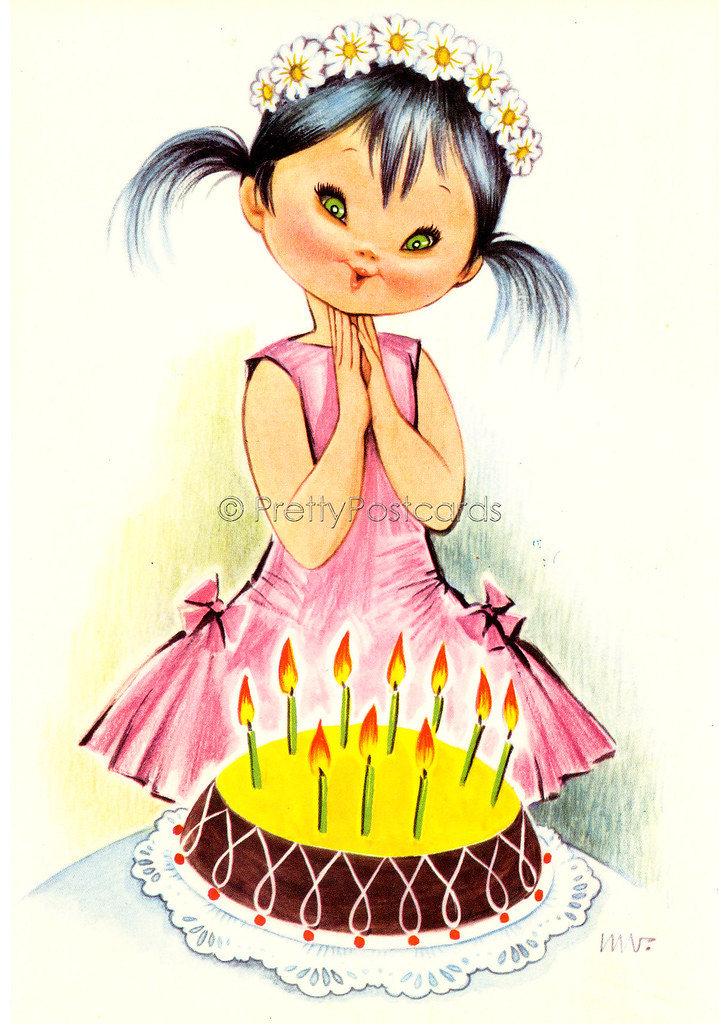 Happy Birthday Card Vintage Postcard Big Eyed Girl Blowi Flickr