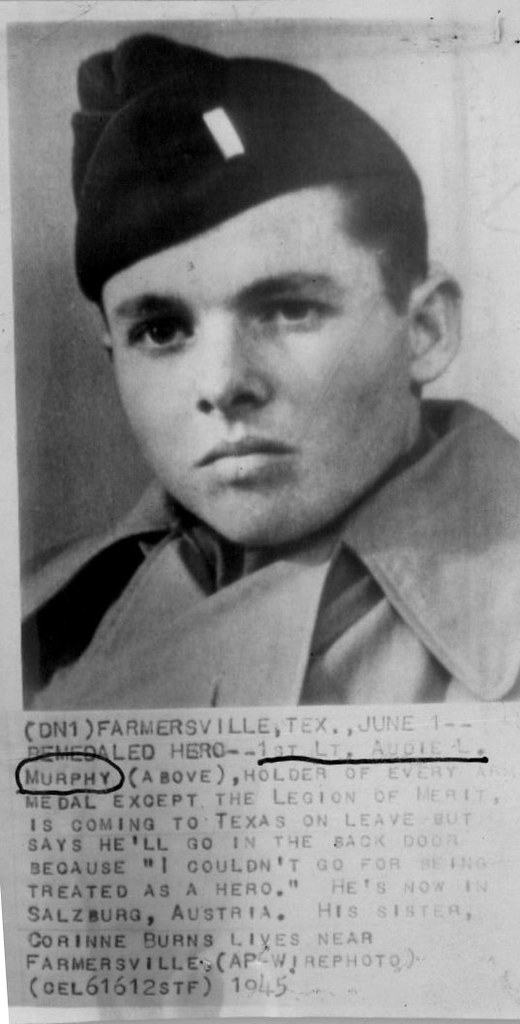 Press Photo 1st Lt Audie Murphy Ap Wirephoto