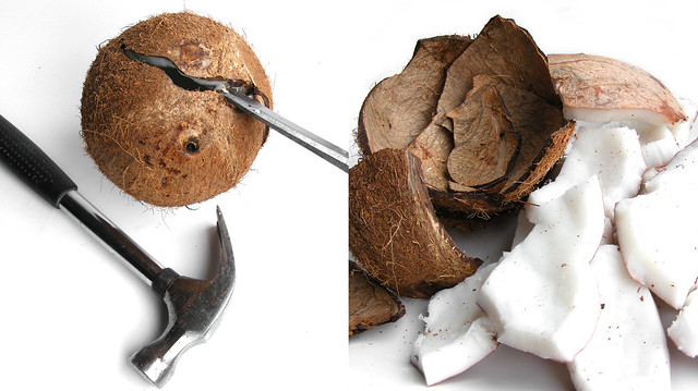 Kokosnoot open maken