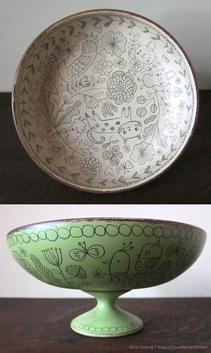 Green Footed Bowl (SOLD) | by Flora Chang | Happy Doodle Land