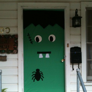 Frankenstein door | Halloween decorating | Leona Jerden ...