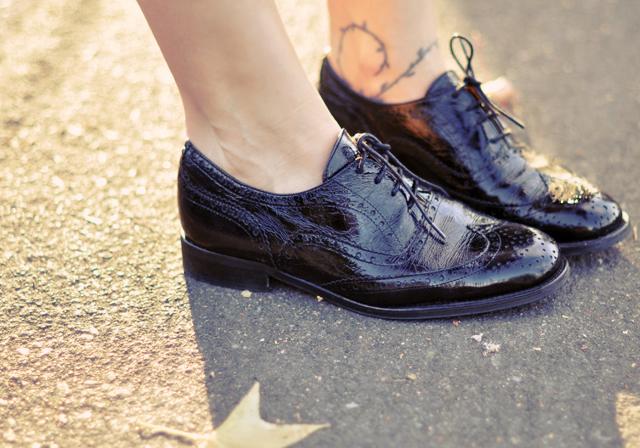 Patent Black Shoes On Suit