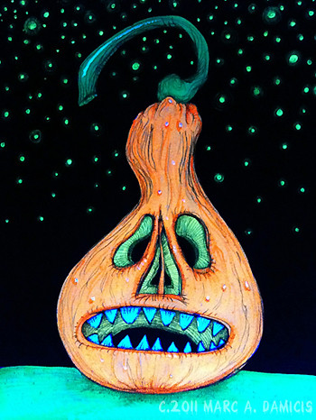 night time black light pumpkin monster done in ink and flu flickr. Black Bedroom Furniture Sets. Home Design Ideas