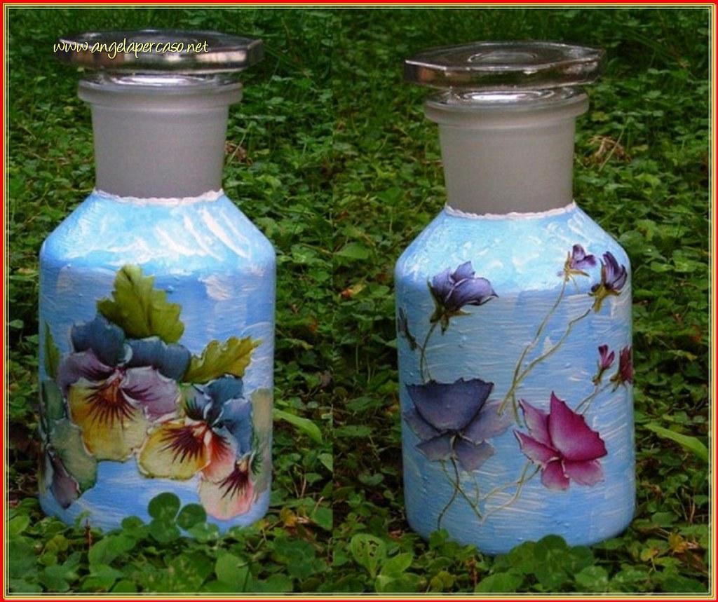 Bottiglie in vetro dipinte e decorate a decoupage natale - Bottiglie vetro decorate ...