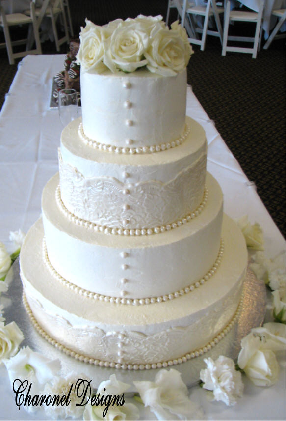 wedding cakes lace and pearl lace wedding cake with button pearls sue flickr 24864