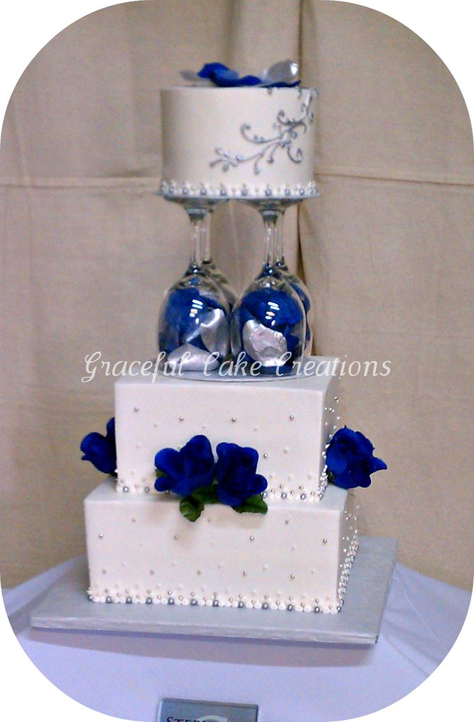 White Navy Blue And Silver Wedding Cake Grace Tari Flickr
