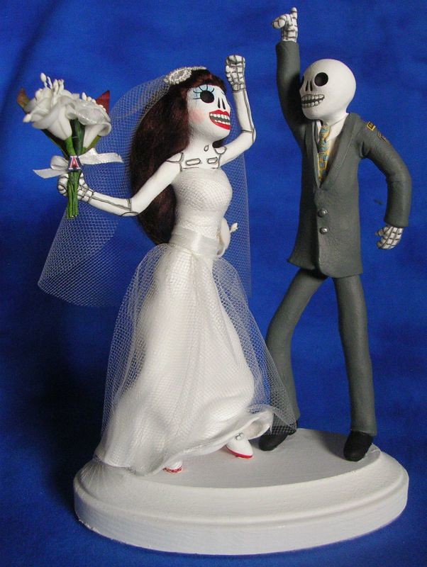 Disco Day of the Dead wedding cake topper | Bride and groom … | Flickr