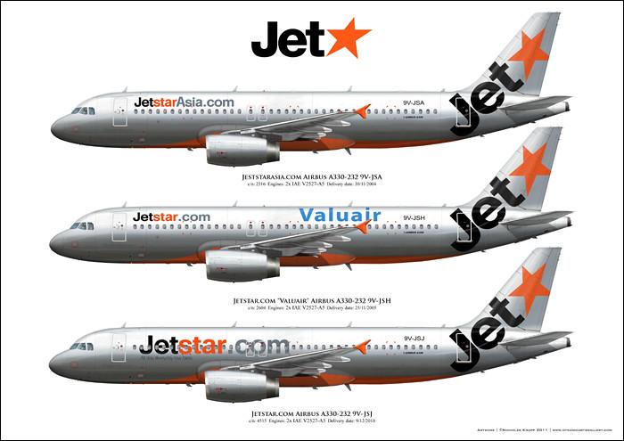 JetStar Airbus A320 Custom Aircraft Art 9V-JSA 9V-JSH 9V-J ...